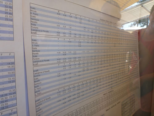 アマルフィから天空の城ラヴェッロへ! バスの時刻表