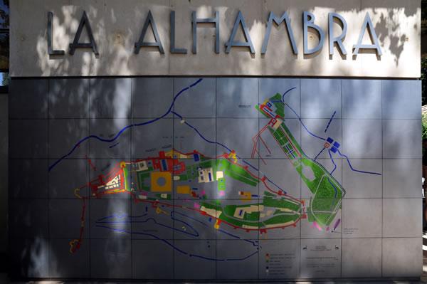 スペイン・アンダルシア州・グラナダ アルハンブラ宮殿 地図