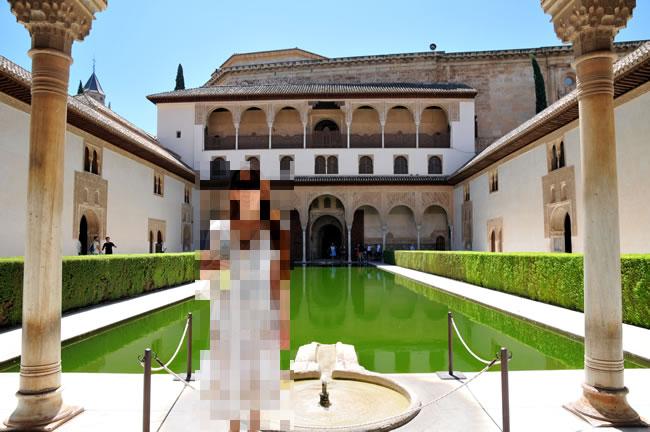 スペイン・アンダルシア州・グラナダ アルハンブラ宮殿 Patio de Arrayanes アラヤネスのパティオ(天人花の中庭)
