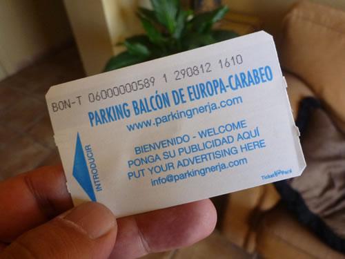 スペイン・ネルハ 駐車券 7days