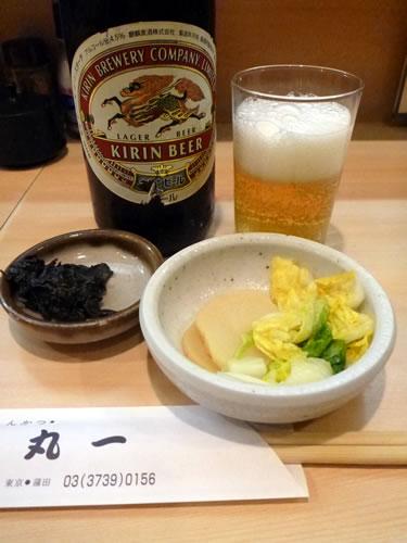 とんかつ丸一(京急蒲田) ビールと漬物